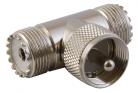 CONECTOR UHF 1 MACHO Y 2 HEMBRAS